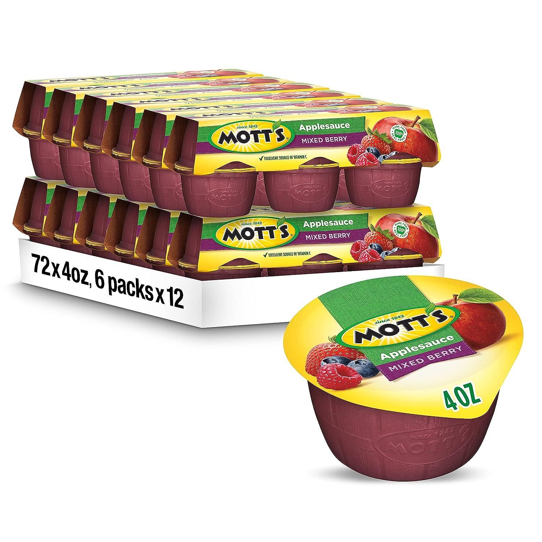 Mott's Mixed Berry Applesauce, 4 oz cups, 6 count (Pack of 12)
