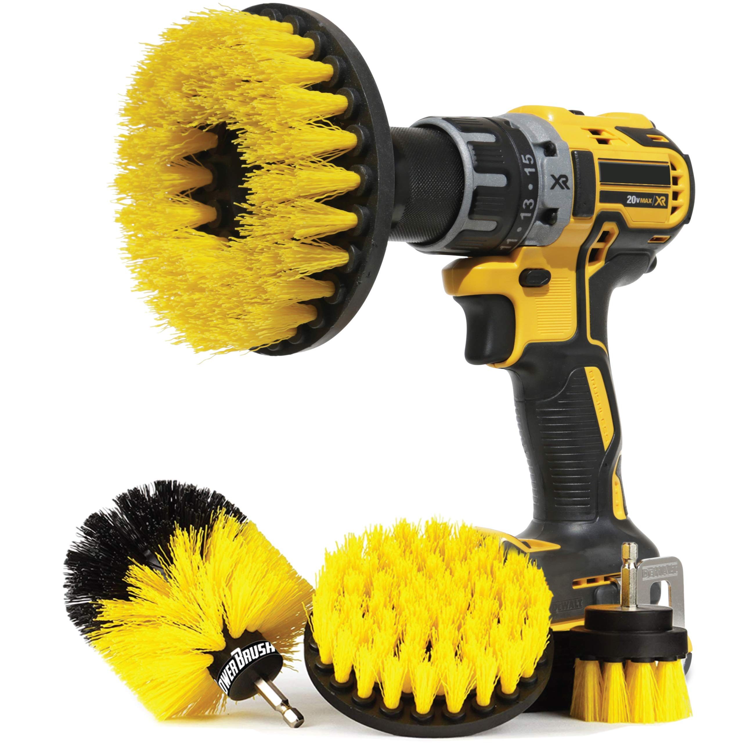 Wheel Brush Kit for Tire and Rim Cleaning | 4 pc Drill Brush Car Detailing Attachment Set | Auto Detail and Scrub Brushes | Car Wash Supplies for Cleaner Cars, RVs, Tires, Rims, Wheels, and Vehicles