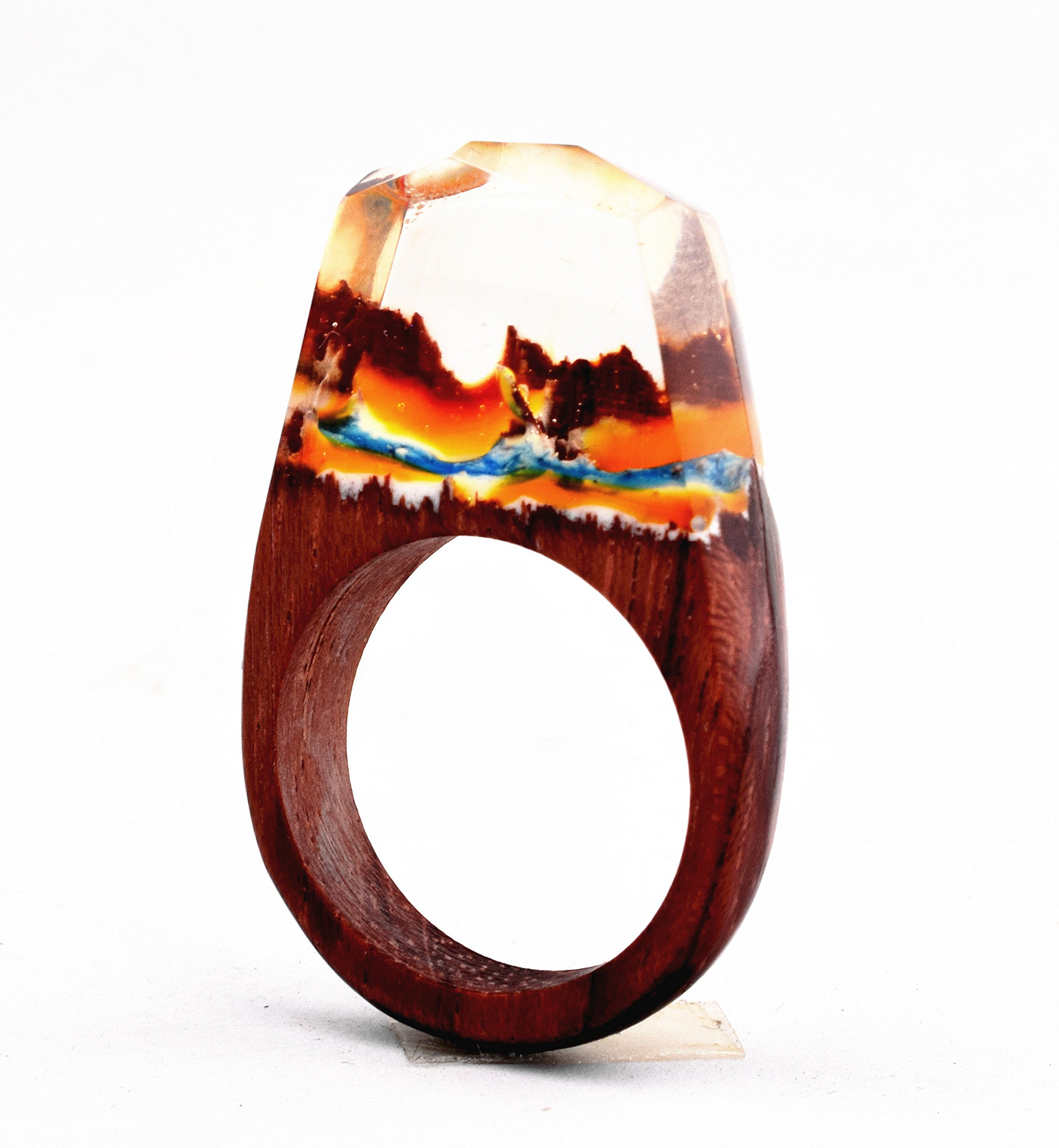 Heyou Love Handmade Wood Resin Ring With Volcano Scenery Landscape Inside Jewelry by Heyou Love (Image #4)