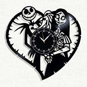 "Nightmare Before Christmas Vinyl Clock 12"" - Jack and Sally Nightmare Before for Fans Nightmare Before Christm - Original Wall Home Decor"