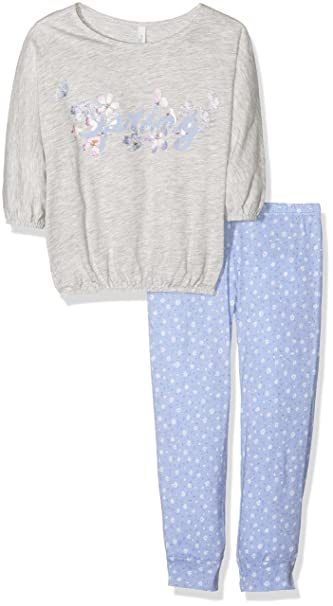 United Colors of Benetton Spring Flowers, Conjuntos de Pijama para Niñas, Gris (Grey