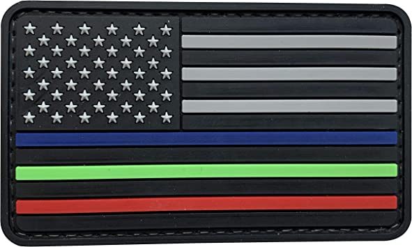 Red, Blue, Green FREE Decal! Thin Line Patch American US Flag Embroidered Patch to Honor /& Support Police Military and Fire