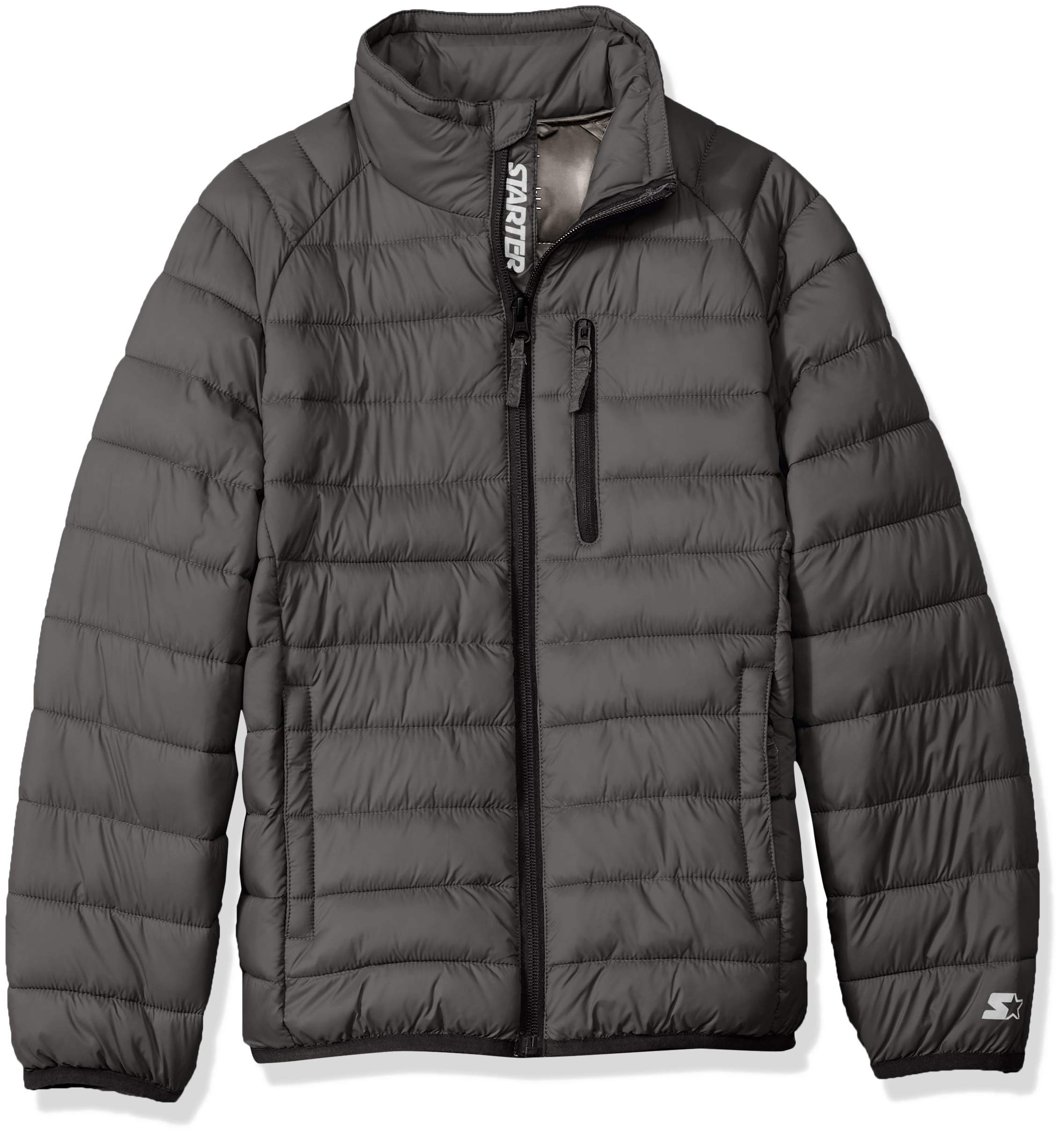 Starter Boys' Packable Puffer Jacket, Amazon Exclusive, Iron Grey, XS