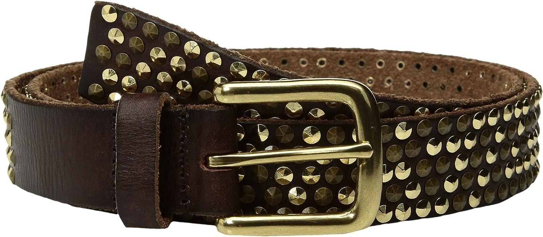 Amsterdam Heritage Leather Belt 30010 Brown Studded belt