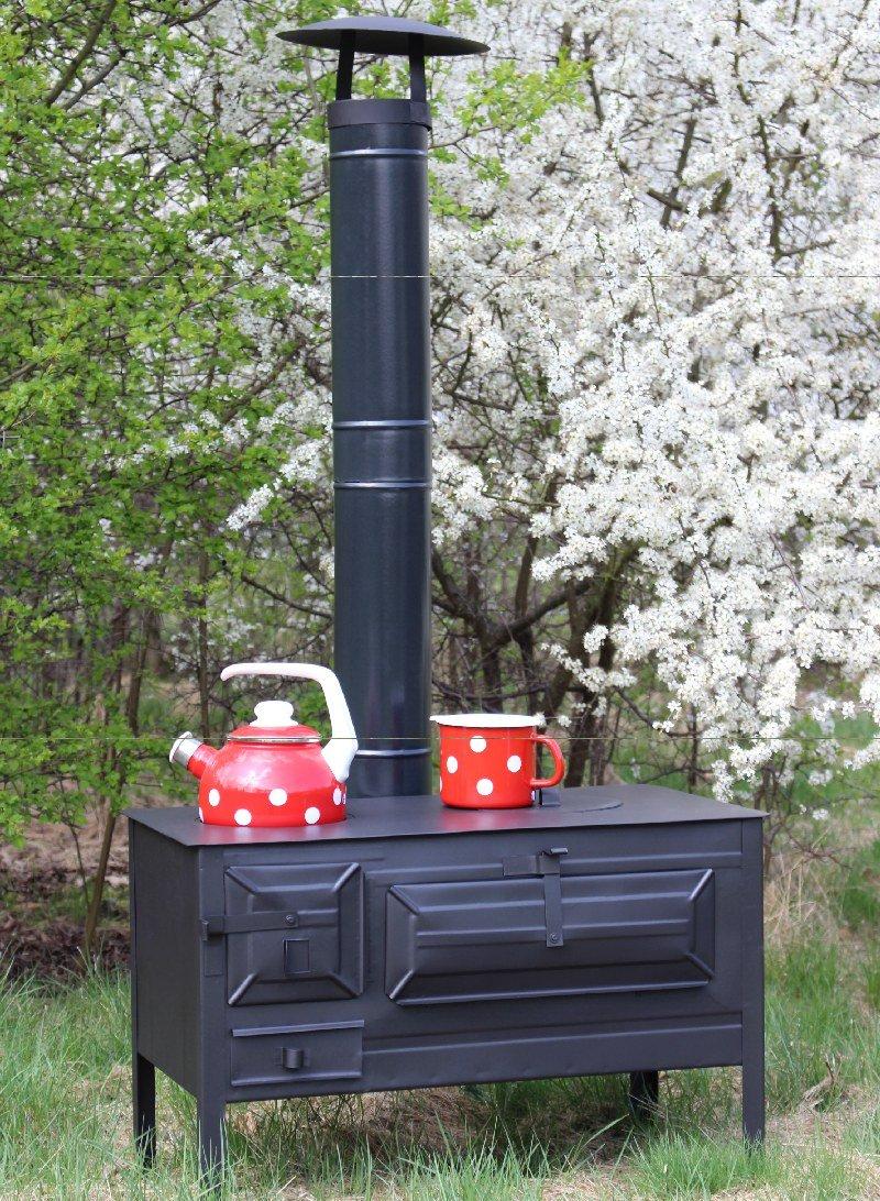Outdoor-Küchenofen Garten-Herd Gartenküche Alfons Zeltofen Gulaschkanone Terrassenofen Pizzaofen (Mit 100cm Rohr + Regenhaube)