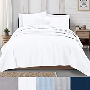 Great Bay Home 3-Piece Detailed Channel Stitch Quilt Set with Shams. White King Quilt Set, All Season Bedspread Quilt Set, Alicia Collection (King, White)