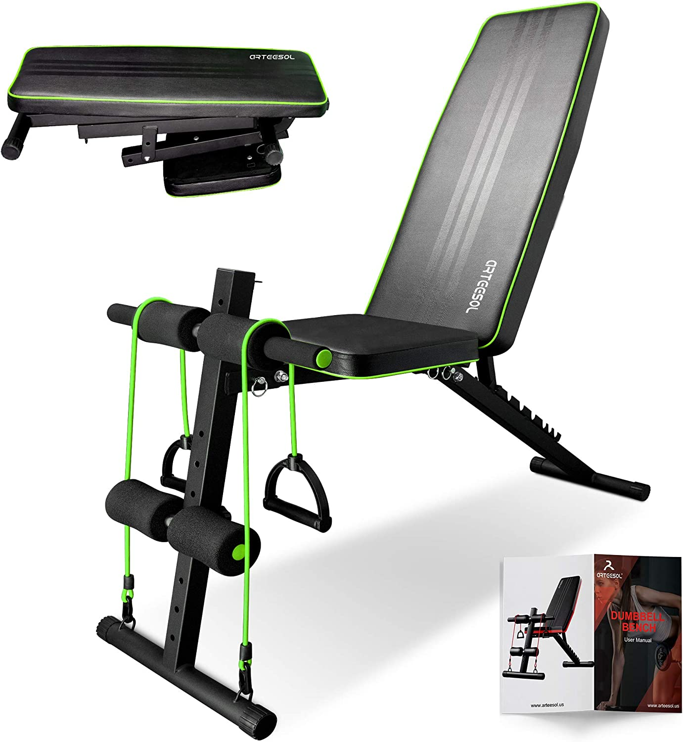 arteesol Adjustable Weight Bench Foldable Weight Bench Fitness ...