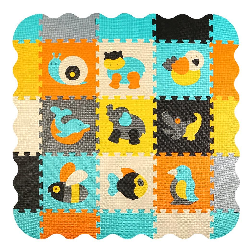 Suelo de Goma EVA Suave 30*30*1cm b18N qqpp Alfombra Puzzle para Ni/ños Bebe Infantil AL Animales 18 Piezas QQP-51