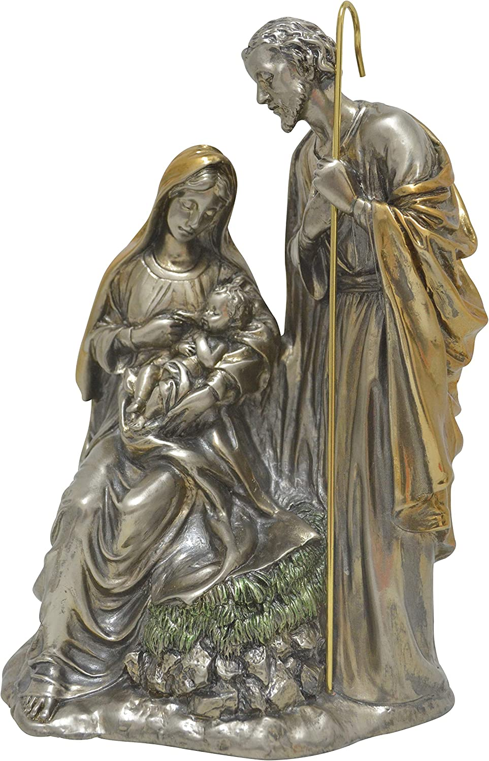 Traditional Holy Family Nativity Scene Statue - Nacimiento Metalico de la Sagrada Familia - Religious Art Home Christmas Metallic Decoration - Nickel/Brass (10.5 inches)