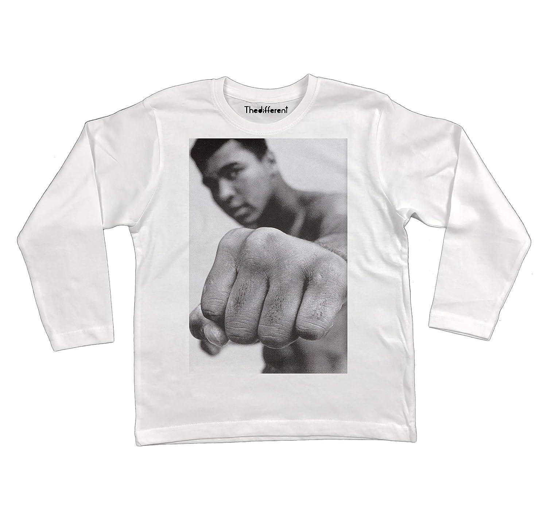 thedifferent T-Shirt Manica Lunga Unisex Bambino Bambina Mohamed Ali Pugno Boxe - Bianco