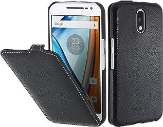 StilGut UltraSlim, housse Motorola Moto G4   G4 Plus   Lenovo Moto G4 en cuir. Etui de protection à ouverture verticale et fermeture clipsée en cuir véritable, noir