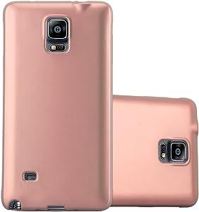 Cadorabo Funda para Samsung Galaxy Note 4 en Metallic Oro Rosa - Cubierta Proteccíon de Silicona TPU Delgada e Flexible con Antichoque - Gel Case Cover Carcasa Ligera