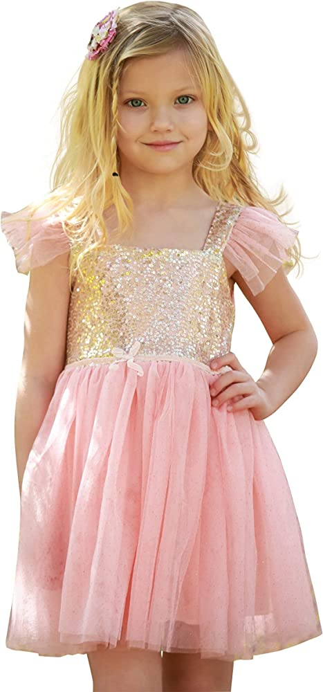 715465bc Birthday Dress for Little Girls Princess Ballerina Party, Pink/Gold, 2 Yrs