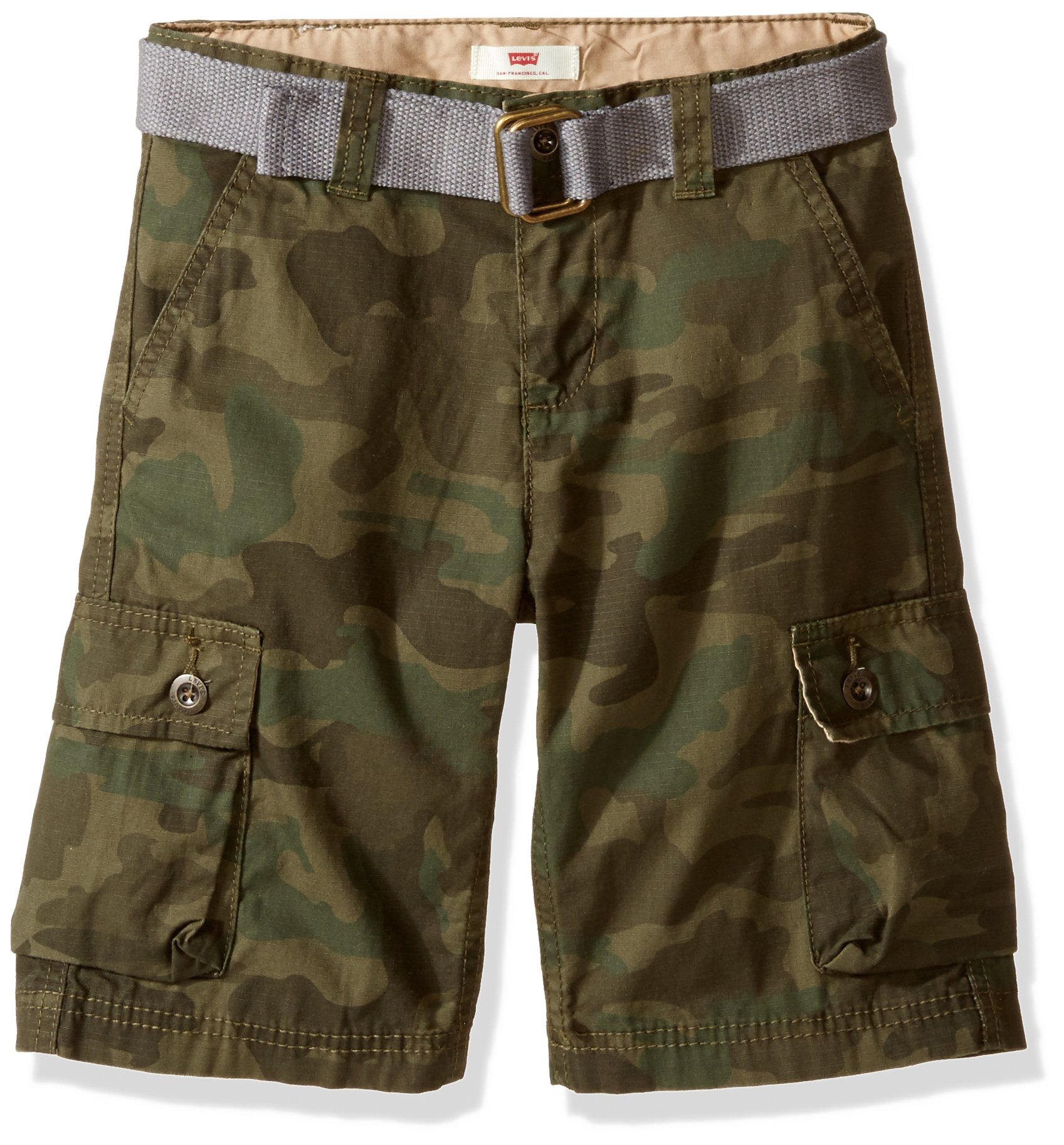 Levi's Little Boys' Cargo Shorts, Olive Night/Forest Night Camo, 6