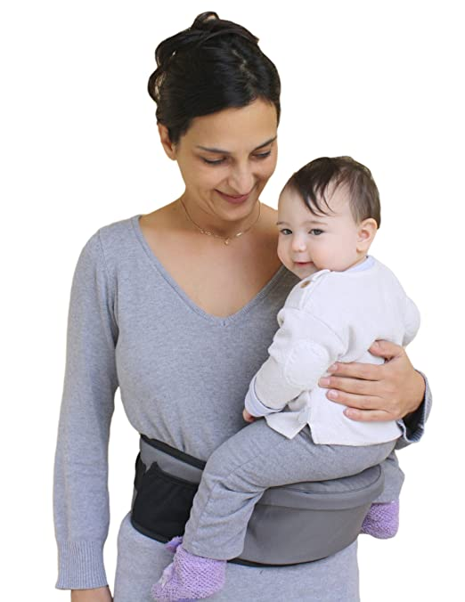Pomfitis Side Ride Baby Toddler Hip Seat Carrier, Grey