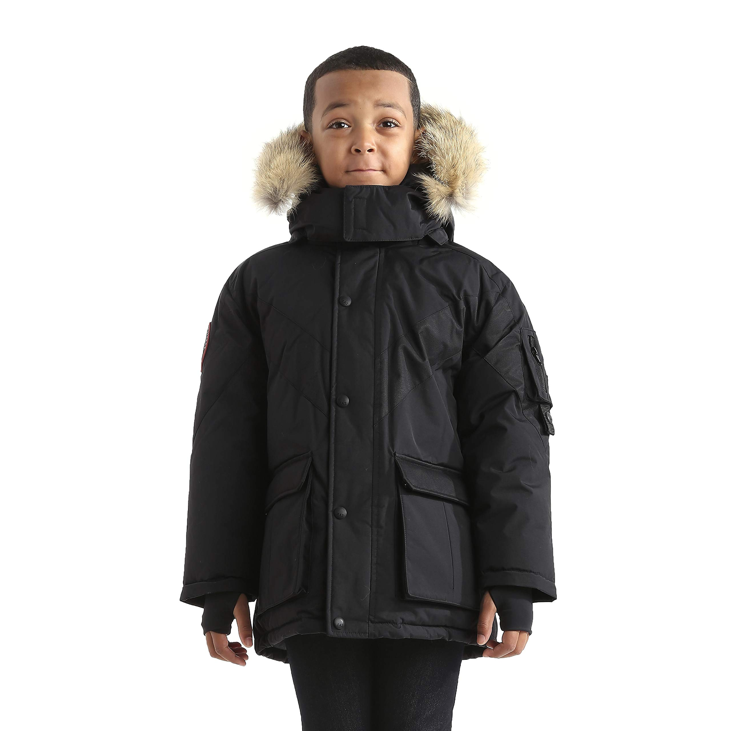 Triple F.A.T. Goose Hesselberg Boys Hooded Goose Down Arctic Parka with Real Coyote Fur (7, Black) by Triple F.A.T. Goose (Image #1)