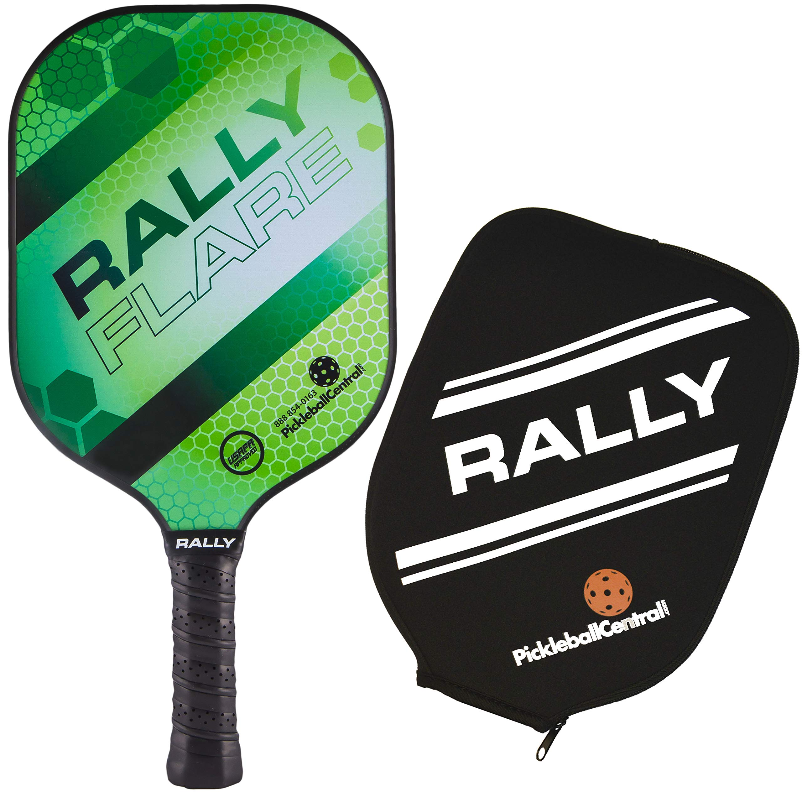 Rally Flare Graphite Pickleball Paddle - Green | Polymer Honeycomb Core, Graphite Face | Lightweight Control, Power, Spin | Paddle Cover Included in Bundle | USAPA Approved by PickleballCentral