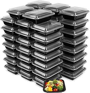 Amazon.com: Paquete de 50 recipientes de comida de plástico ...