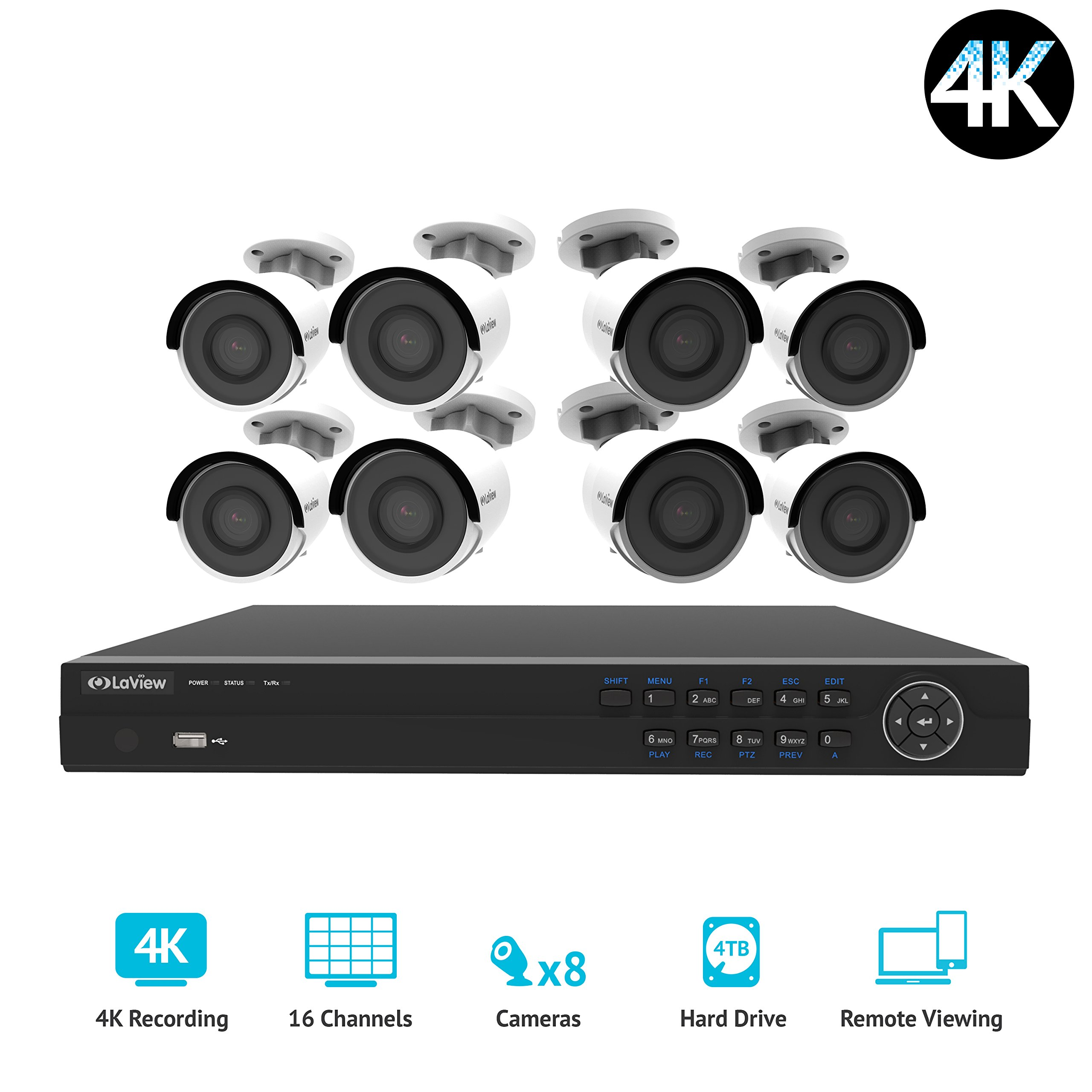 LaView LV-KNG966168G8-T4 16 channel 4K home security 8 8MP 4K Bullet Camera system, 4TB Storage, 100ft Night Vision, White