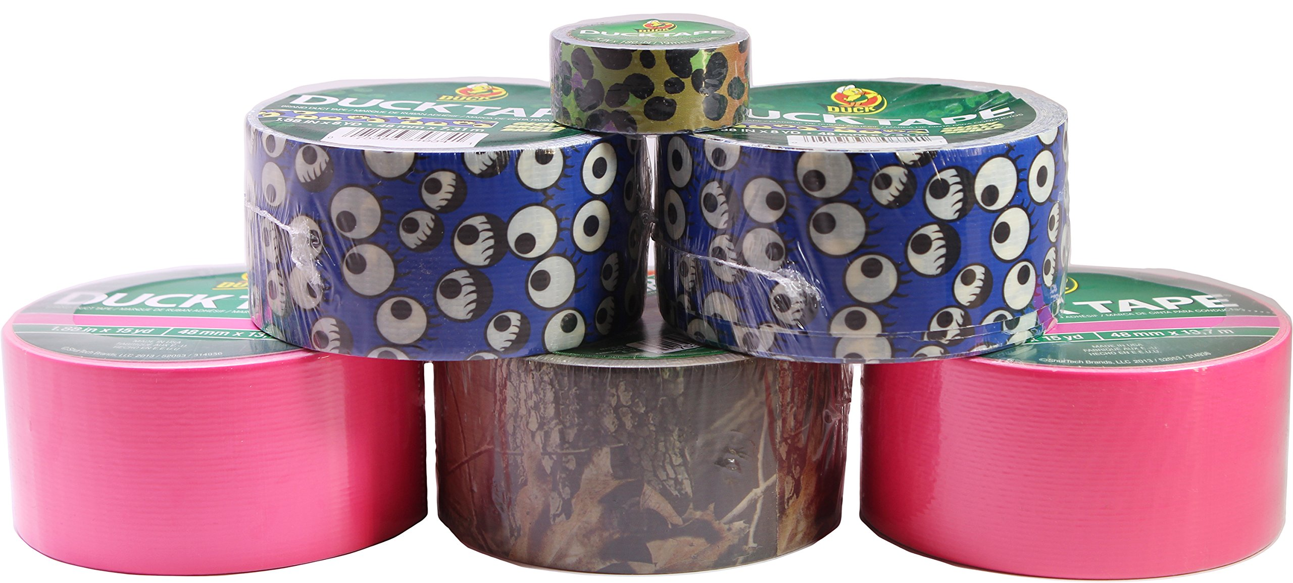 Duck Duct Tape Assorted Set, Includes 6 Printed Rolls, Great for Crafting