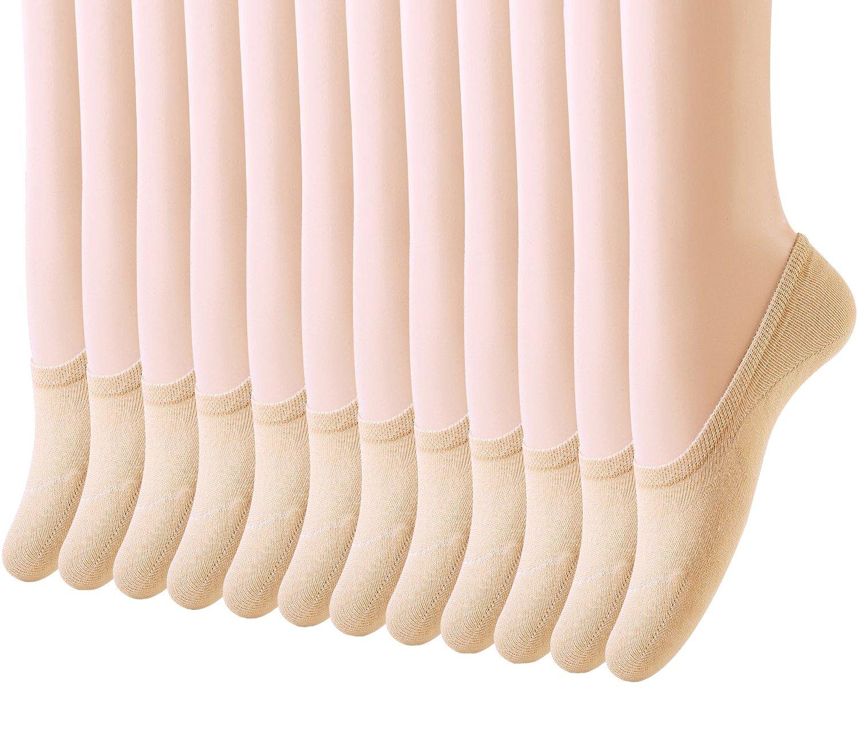 Amandir 6 Pairs/12 Pairs Thin Casual No Show Socks, Cotton Socks for Flats, Liner Socks