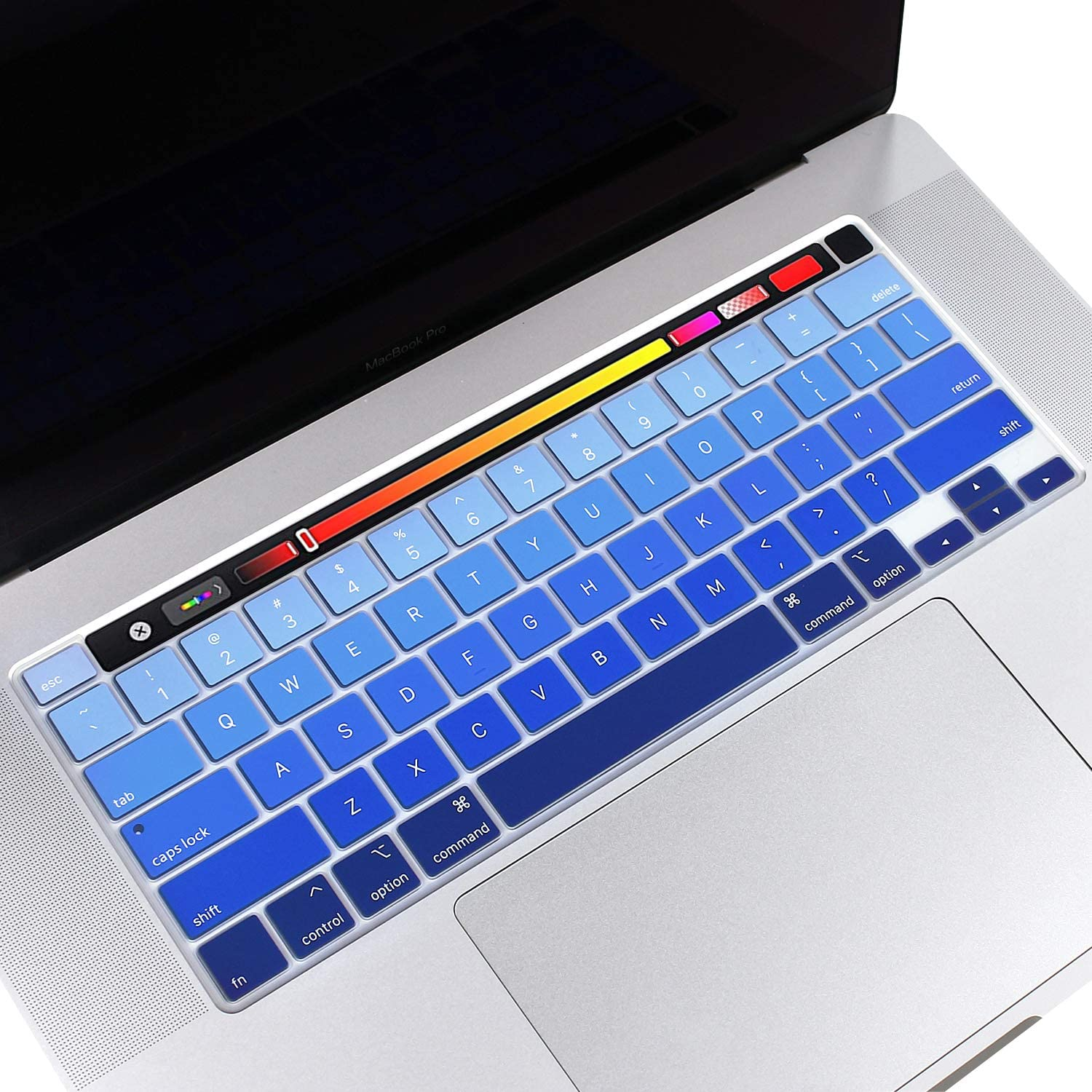"""Silicone Keyboard Cover for 13 inch MacBook Pro A2289 2020 Released & 16 inch MacBook Pro A2141 with Touch Bar & Touch ID 2019 (for 13"""" MAC PRO A2289 & 16"""" MacBook Pro A2141, Gradient- Blue)"""