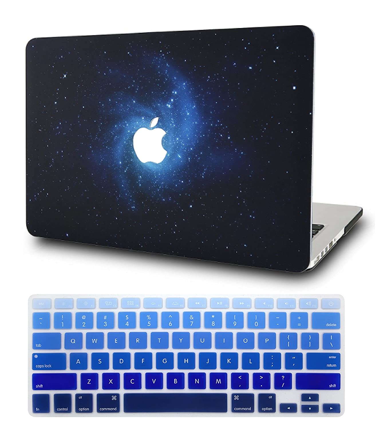 """KEC Laptop Case for MacBook Pro 13"""" (2018/2017/2016) w/ Keyboard Cover Plastic Hard Shell A1989/A1706/A1708 Touch Bar Space Galaxy (Blue)"""