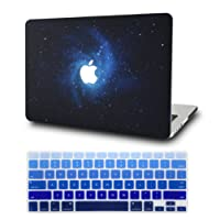 KEC MacBook Air 13 Inch Case with KeyBoard Cover Plastic Hard Shell Cover Protective A1369 / A1466 Space Galaxy (Blue)