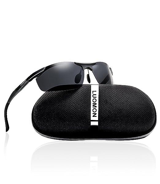 ce71a35063 LUOMON Men s Polarized Wrap-Around Sport Sunglasses Al-Mg Aloy Black Frame  Grey