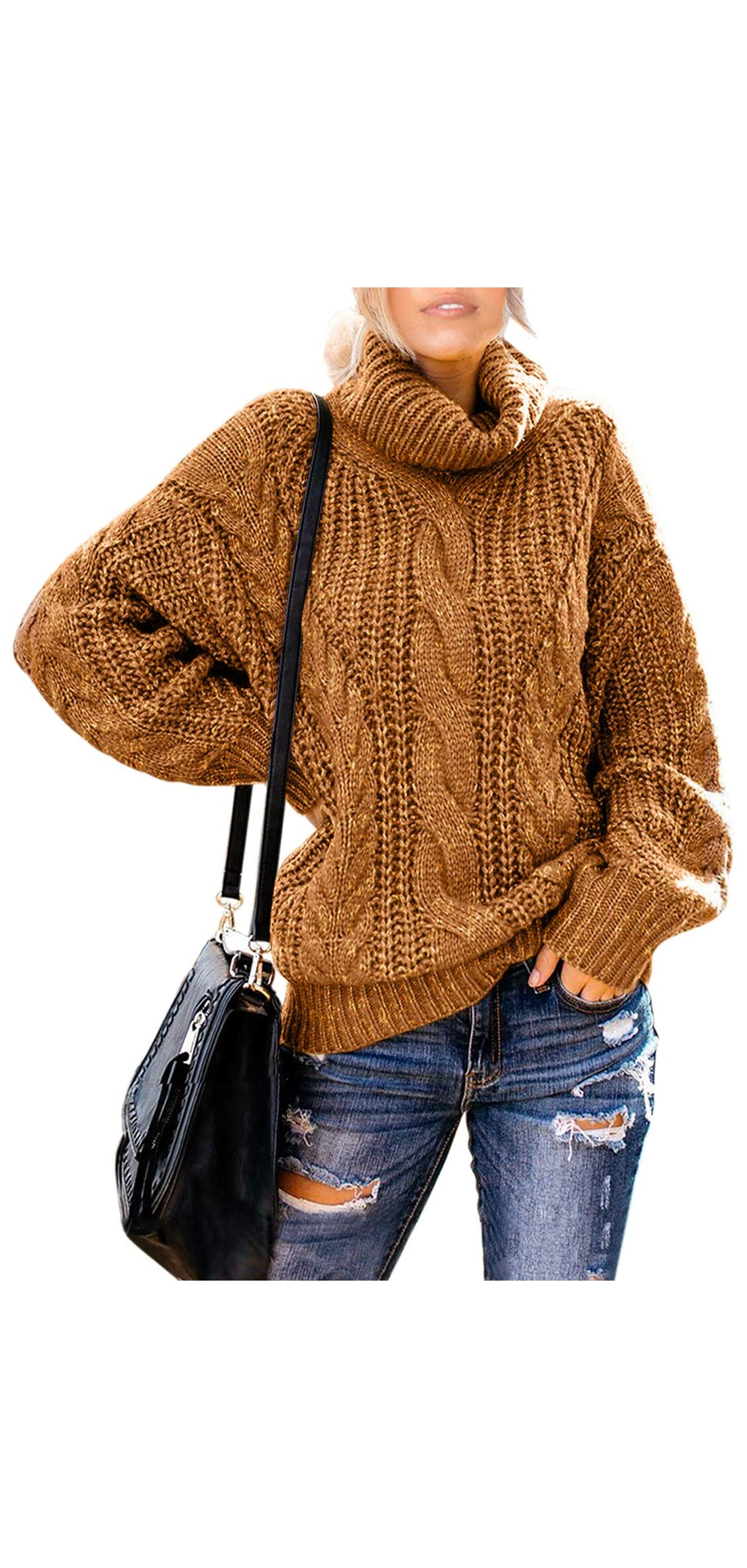 Womens Turtle Cowl Neck Solid Color Soft Comfy Knit