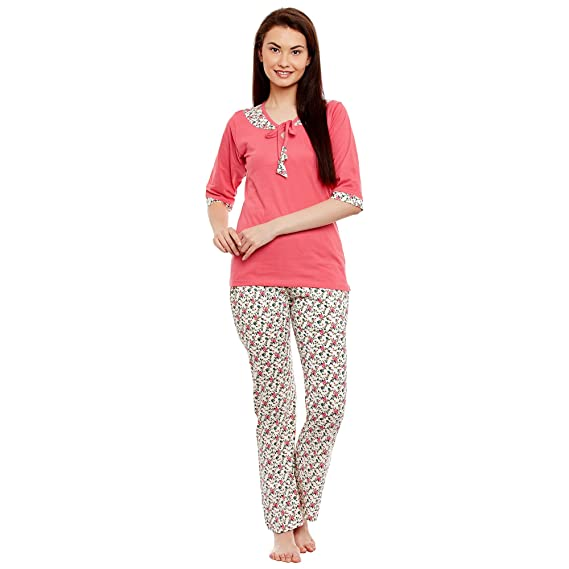 4efb9a2bb3 Claura Cotton Printed 3/4th Sleeve Lower and Top Pyjama Set (Night ...
