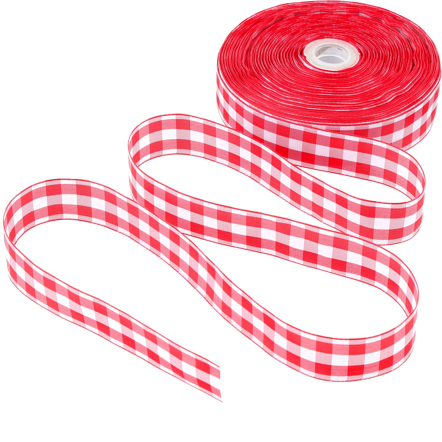 Black and White, 10 Meter Long 6.3 cm in Width Plaid Burlap Ribbon Gingham Wrapping Ribbon with Spool for Christmas Decoration Gift Wrapping Party Decoration