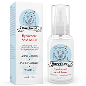 Hyaluronic Acid Serum for Face With Vitamin C & Retinol 1% - Anti Ageing Skin Plumping Wrinkle Cream With Marine Collagen For All Skin Types