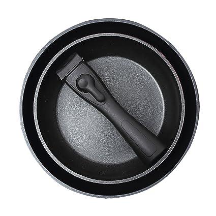 Bergner Click&Cook Set de sartenes, Aluminio Forjado, Negro, 24 cm