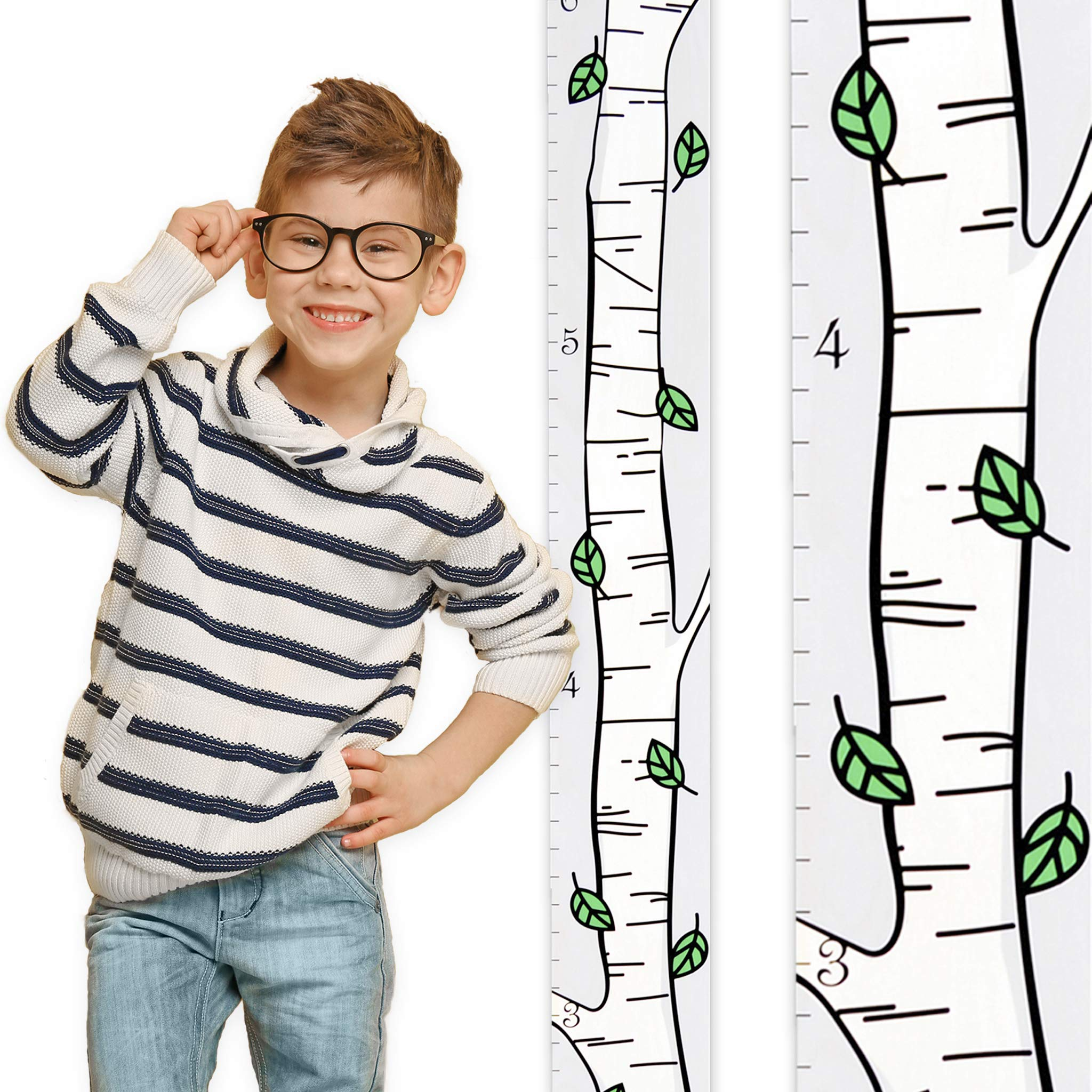 Growth Chart Art | Wooden Birch Tree Growth Chart for Kids [Boys and Girls] | Growth Chart Ruler Kids Height Chart | Measuring Kids Height Wall Decor for Kids | Green Leaf Single