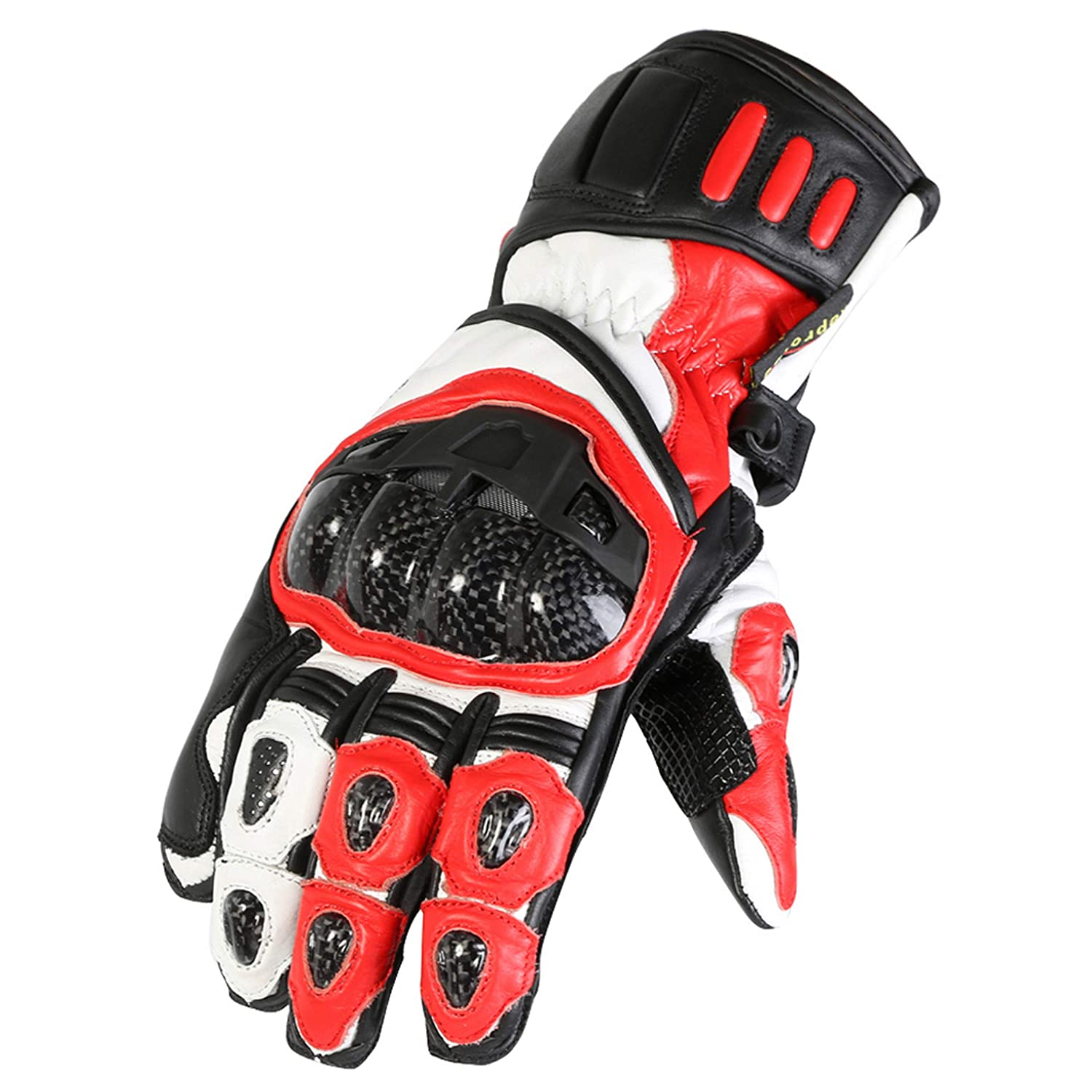 Texpeed Red /& Black Protective Leather Motorbike//Motorcycle Gloves Sizes S to 2XL