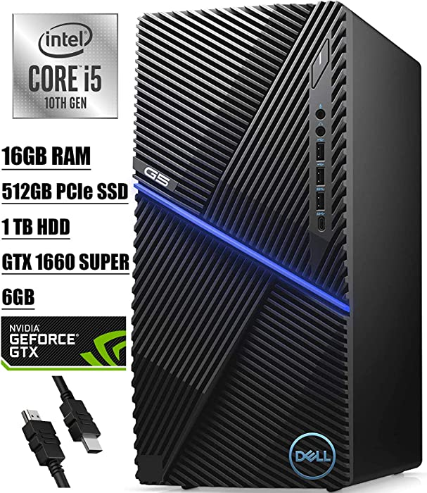 Flagship 2020 Dell G5 Gaming Desktop 10th Gen Intel Hexa-Core i5-10400F (Beats i7-7700) GTX 1660 Super GDDR6 6GB 16GB DDR4 512GB PCIe SSD 1TB HDD WiFi VR-Capable Graphics Win 10 + iCarp HDMI Cable