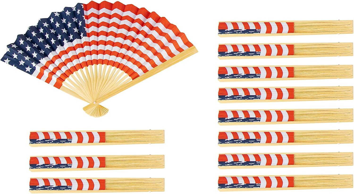 Amazon Com Bamboo Folding Fans American Flag 14 In 12 Pack Toys Games