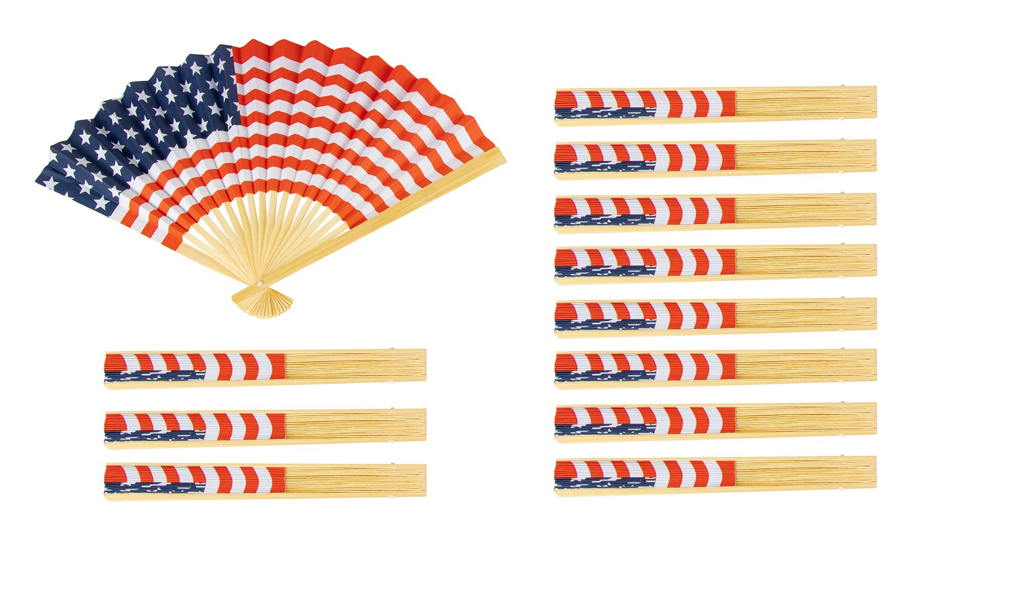 USA Flag Fan - 12-Pack American Flag Fan, Patriotic Party Favors, Handheld Folding Paper Fan in Red, White and Blue, 14.2 x 10 Inches