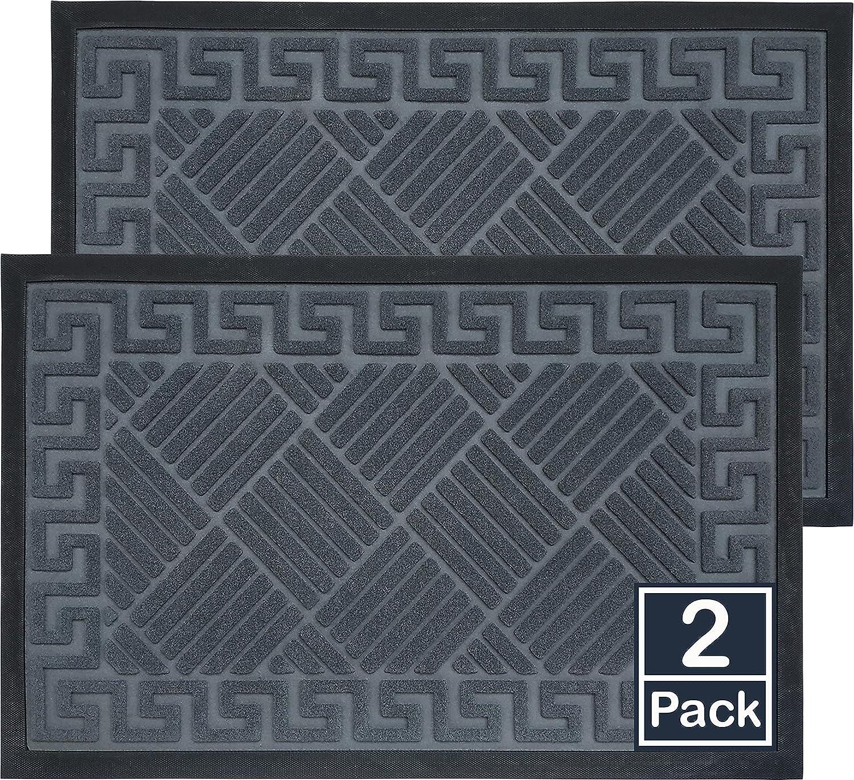 2 Pack Front Door Mat 30x18, Extra Durable Door Mats for Outside Entry, Welcome Mats for Front Door Outdoor, Cute Black Doormat Indoor Entrance, Inside Door Mats for Front Door, Outdoor Doormat, Gray