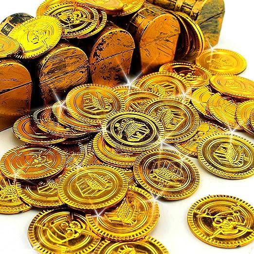 32 Monedas de los piratas de oro falso, áleros tesoro botín piratea, Para juegos de mesa, fiestas, juegos para niños, decoraciones, llenar pinadas by RIVENBERT: Amazon.es: Hogar