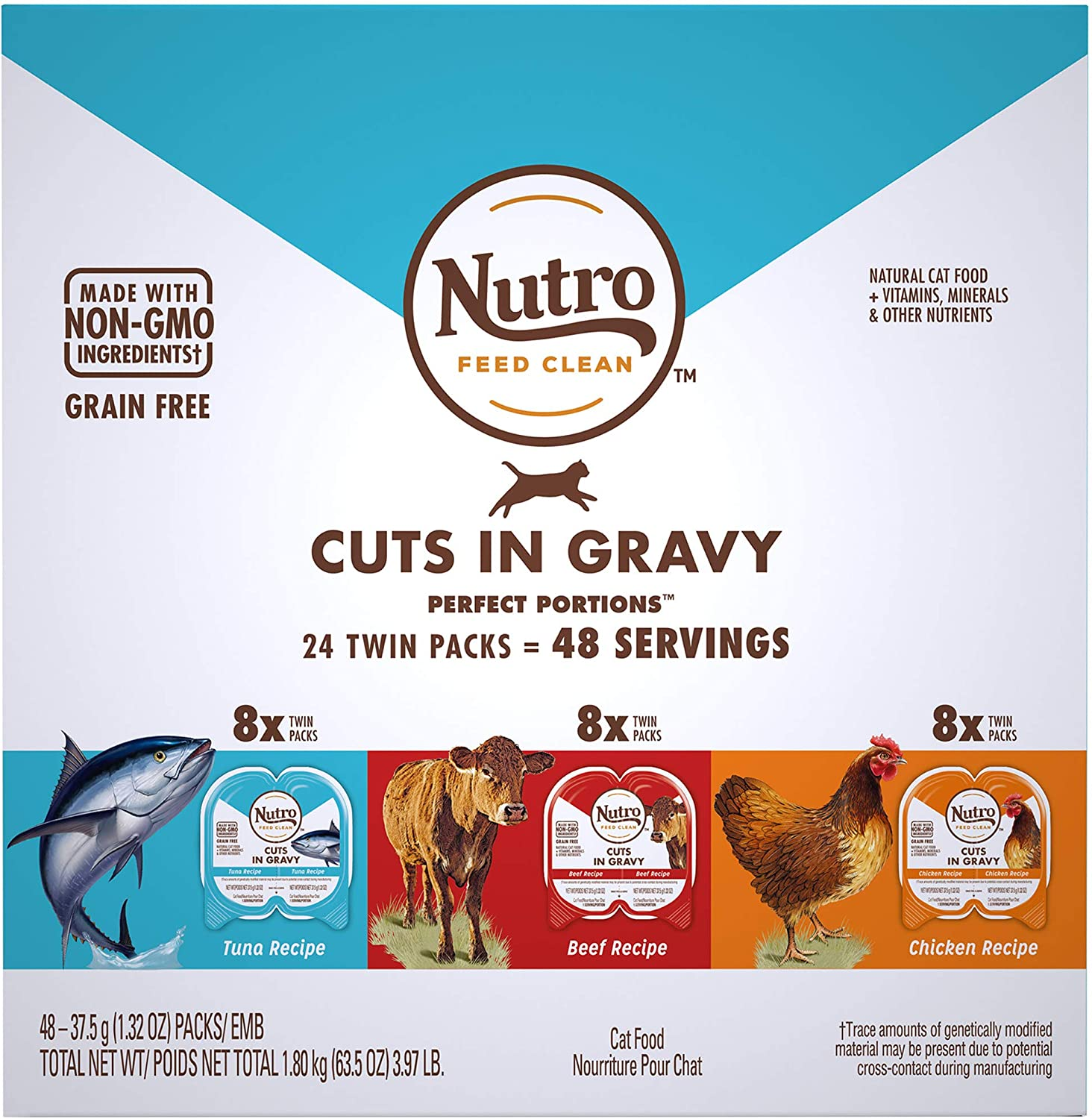 Nutro Perfect Portions Grain Free Natural Cuts in Gravy Recipes Variety Pack Adult Wet Cat Food, 3.97 lbs., Count of 24