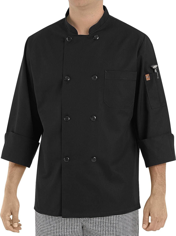 Chef Designs Men's Eight Pearl ButtonBlack Chef Coat