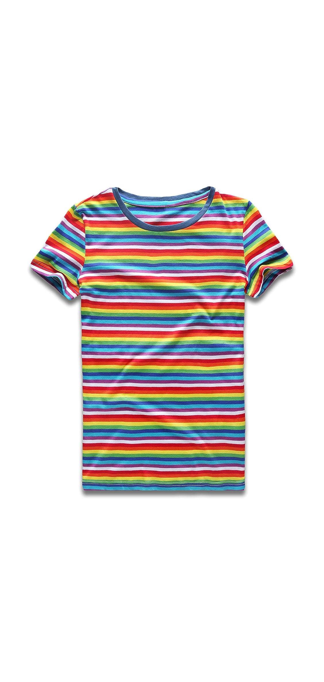 Rainbow T Shirt Women Striped Tee Crew Neck Short Sleeve Stripes