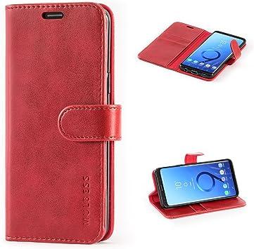 Mulbess Coque pour Samsung Galaxy S9, Etui Samsung Galaxy S9 Cuir avec Magnetique, Housse Protection pour Samsung Galaxy S9 Case, Vin Rouge