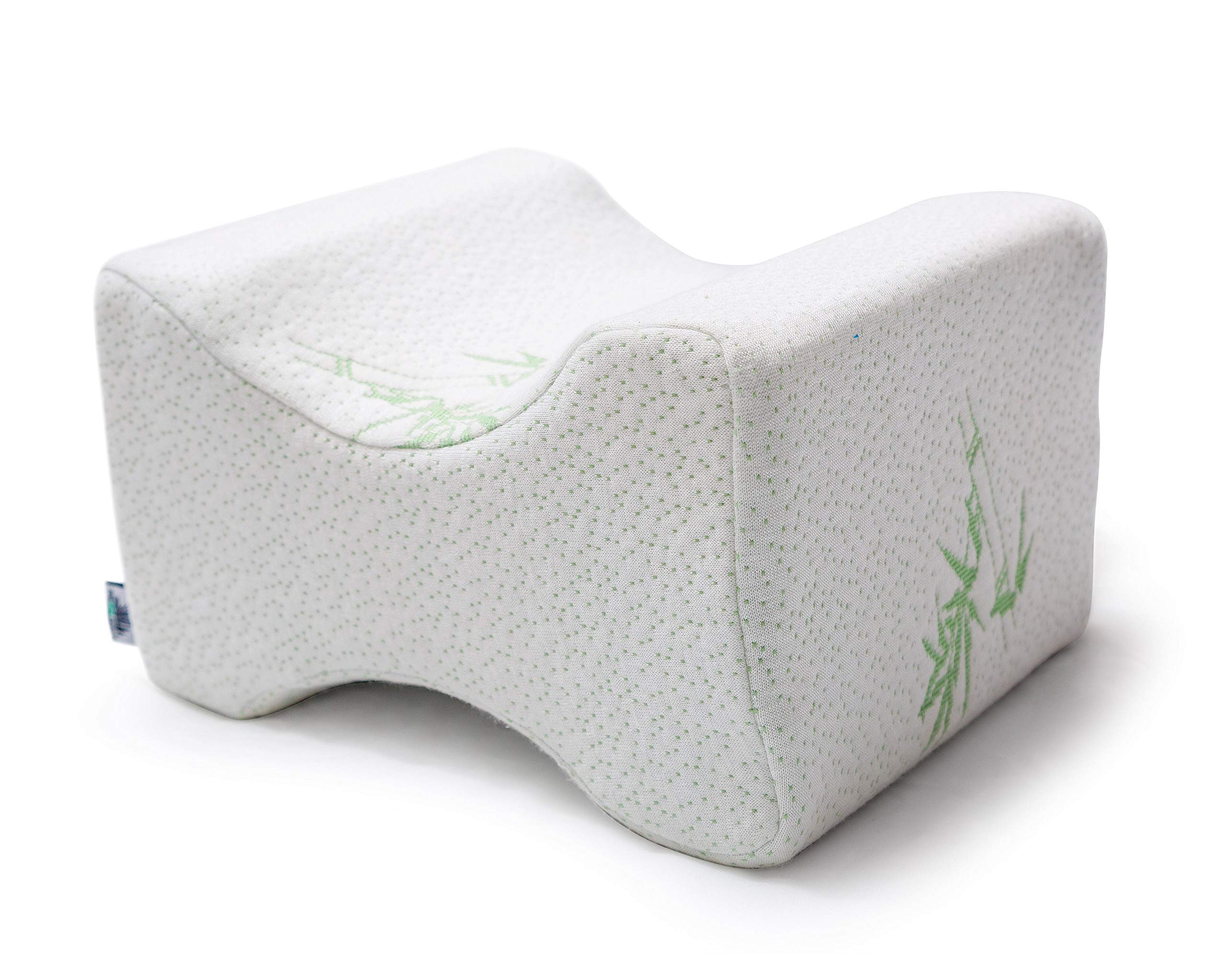 Bamboo Sleep Knee Pillow by Pura Verde Products - Memory Foam Contour Cushion +Travel Bag - Contour Knee Pillow for Side Sleepers, Pregnancy - Orthopedic Wedge Pillow for Back, Leg, Hip & Sciatic Pain
