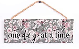 P. Graham Dunn One Day at A Time Grey Floral 10 x 3.38 Pine Wood Decorative Hanging String Sign
