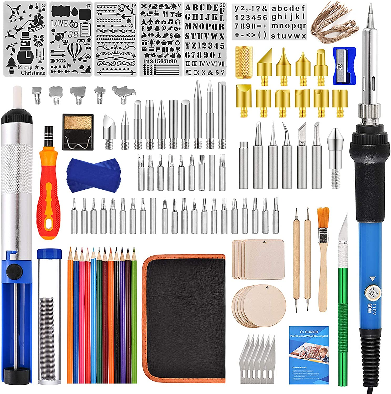 148 PCS Wood Burning Kit Woodburning Tool with LCD Display Adjustable Temperature Soldering Pyrography Pen,Fathers Day Wood Tool,Creative Tool DIY Kit For Embossing//Carving//Soldering Pyrography Tips