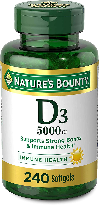 Vitamin D by Nature's Bounty for immune support. Vitamin D provides immune support and promotes healthy bones. 5000iu, 240 Softgels
