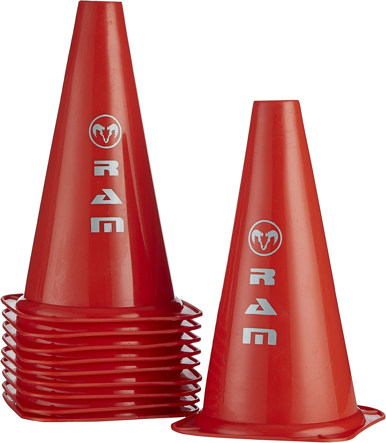 12 Inch Multi-Purpose Sports Training Cones Red Ram Traffic Cones Rugby Supplied In Drawstring Carry Bag Set Of 10